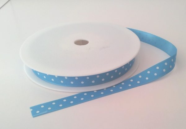 Aqua with White Dots Grosgrain 10mm x 20m