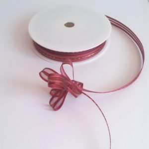 Claret Satin Edge Pull Bow Ribbon 10mm x 25m