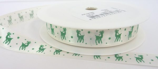 Cream Satin Ribbon with Green Printed Reindeer and Snowflakes 15