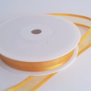 Dark Gold Satin Edge Organza Ribbon 15mm x 20m