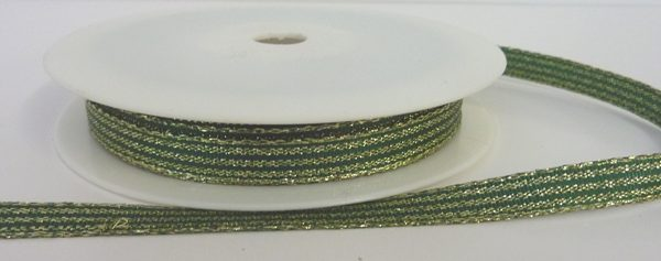 Green Lurex Ribbon with Shiny Gold Stripes 10mm x 20m