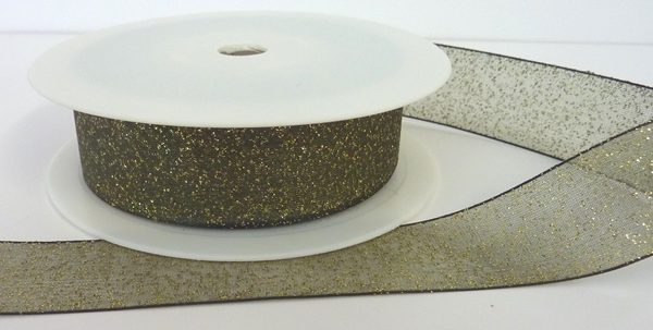 Green Woven Edge Organza Ribbon with Gold Glitter 25mm x 20m