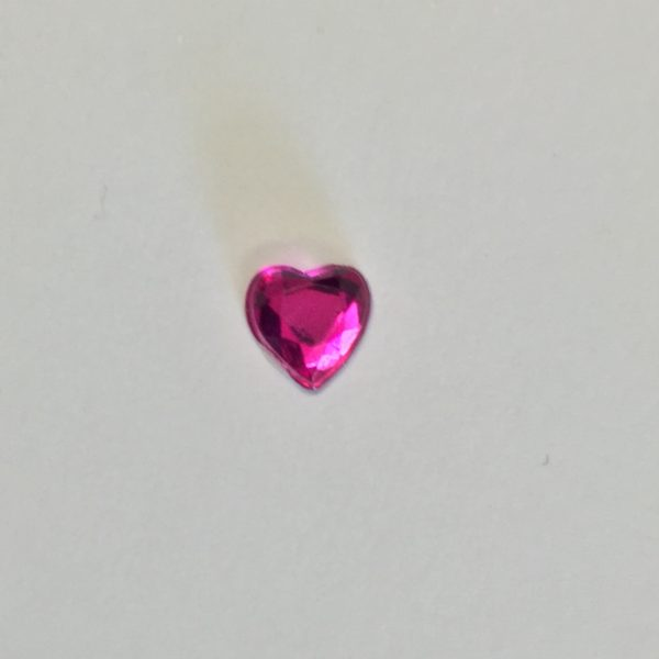 Crystal Heart Self Adhesive 6mm Fuchsia pack 100