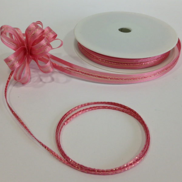 Pink Satin Edge Pull Bow Ribbon 10mm x 25m