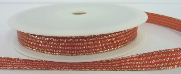 Red Lurex Ribbon With Shiny Gold Stripes 10mm x 20m
