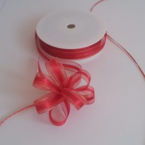 Red Organza Pull Bow Ribbon 15mm x 25m