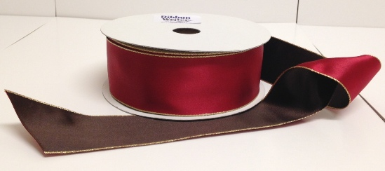Red Satin with Chocolate underside & Gold Edge 38mm x 20m