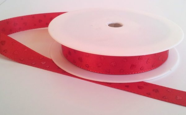 Red ribbon with red hearts 15mm x 20m