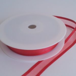 Scarlet Satin Edge Organza Ribbon 15mm x 20m