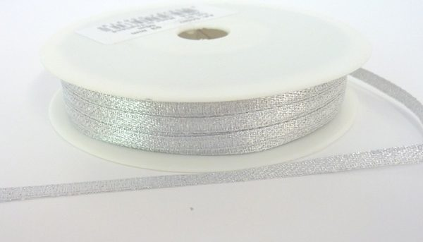 Silver Lurex Wrapping Ribbon 3mm x 50m
