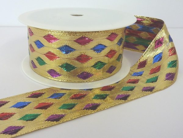 Wire edge Gold Lurex/multi coloured diamonds 40mm x 20m