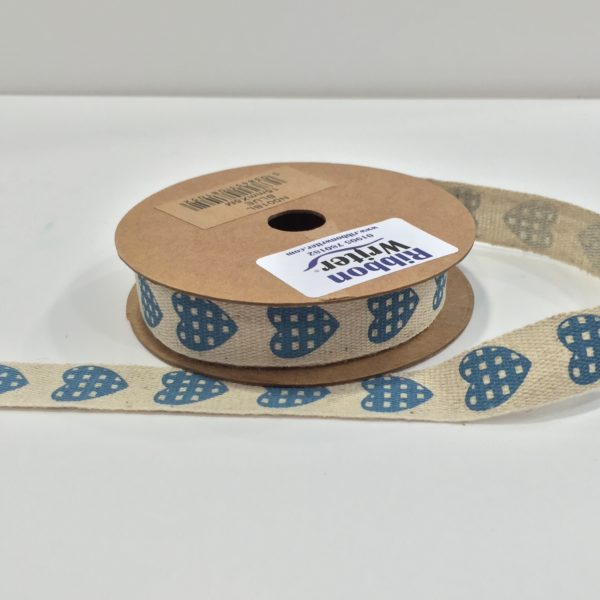 Jute Style ribbon with Blue Heart print 15mm x 5m