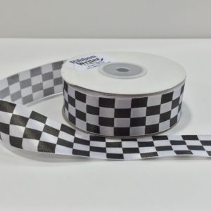 Chequered Flag Racing Ribbon 25mm x 25m