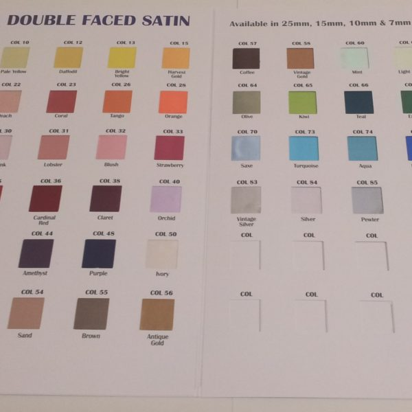 Double faced satin Colour Chart