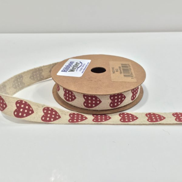 Jute Style ribbon with Red Heart print 15mm x 5m