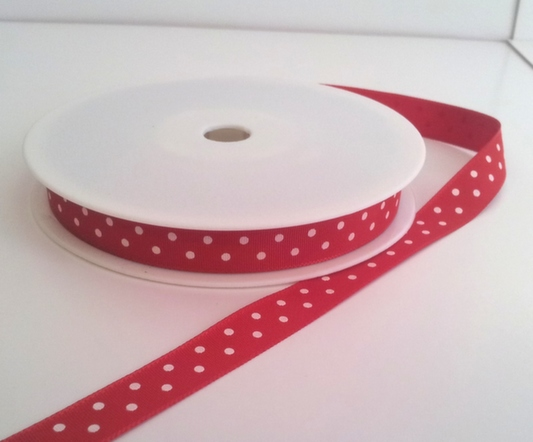 Red with White Dots Grosgrain 10mm x 20m