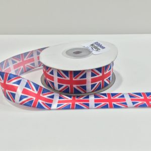 Union Jack print Ribbon 25mmx 25m roll