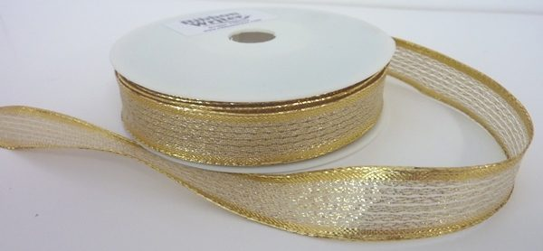 Wire edge Shiny Gold Lurex/Gold border 15mmx20m